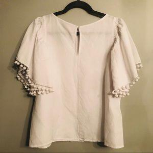 LOFT Linen blend white Pom Pom shirt blouse